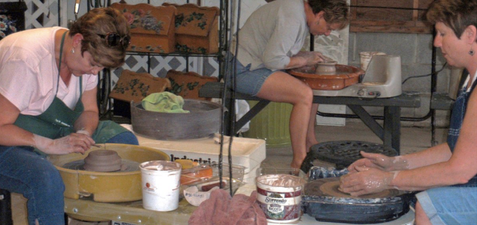 Take advantage of our pottery and watercolor art workshops
